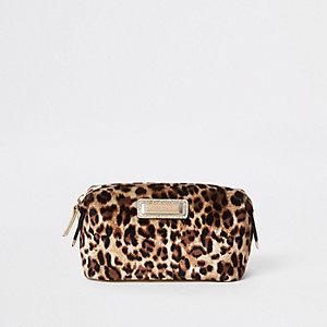 Beige leopard print zip top makeup bag