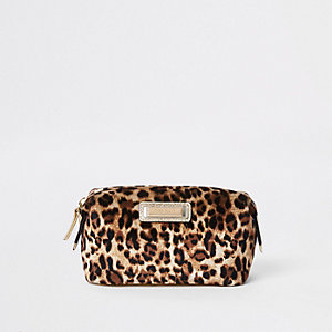 Trousse à maquillage léopard beige zippée dessus