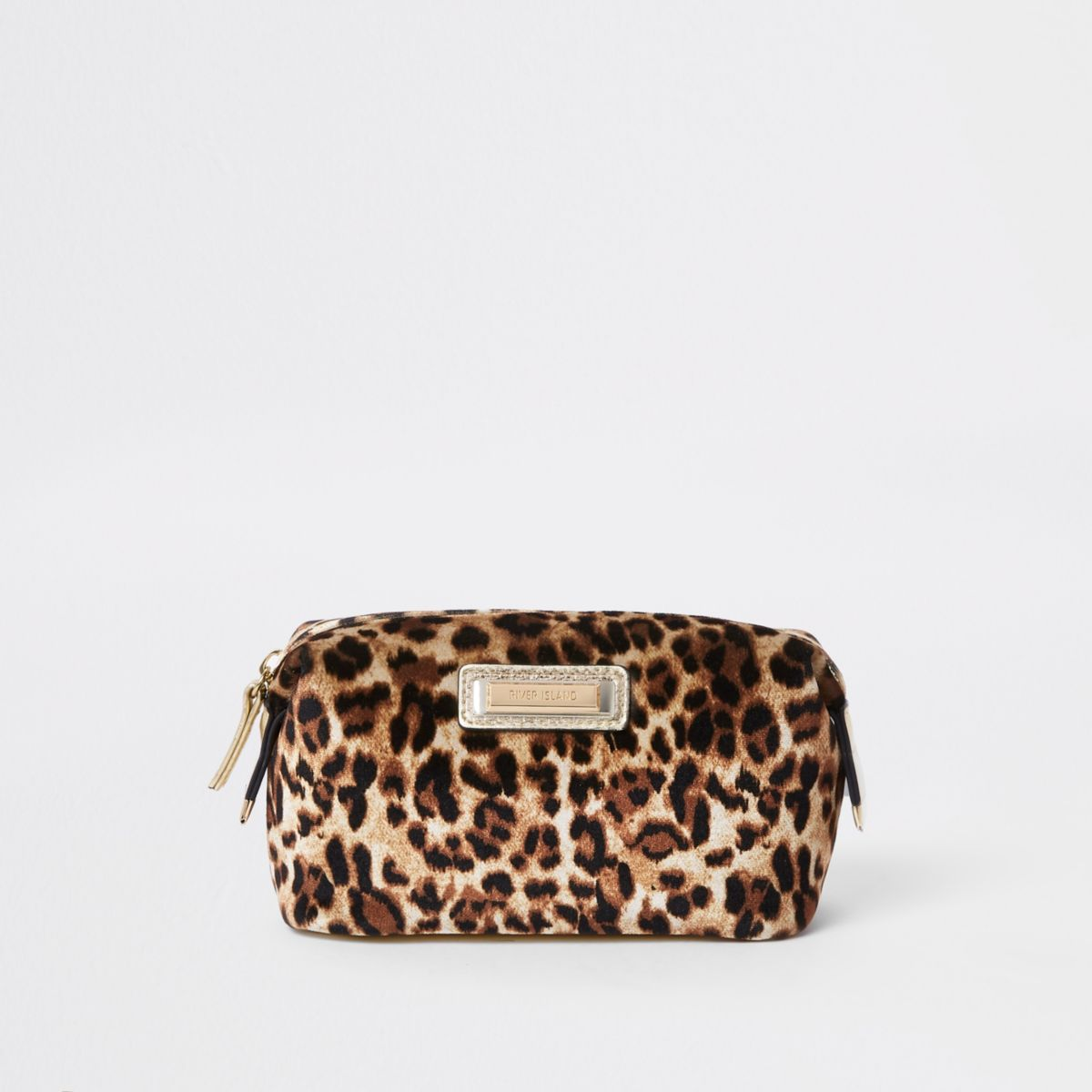 Beige leopard print zip top makeup bag