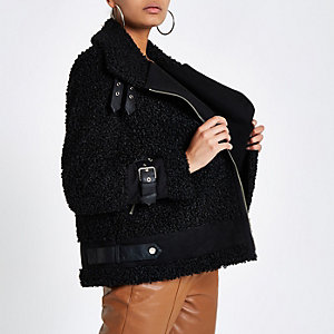 Black fleece aviator jacket