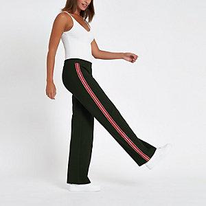 Pantalon de jogging vert à bandes à strass