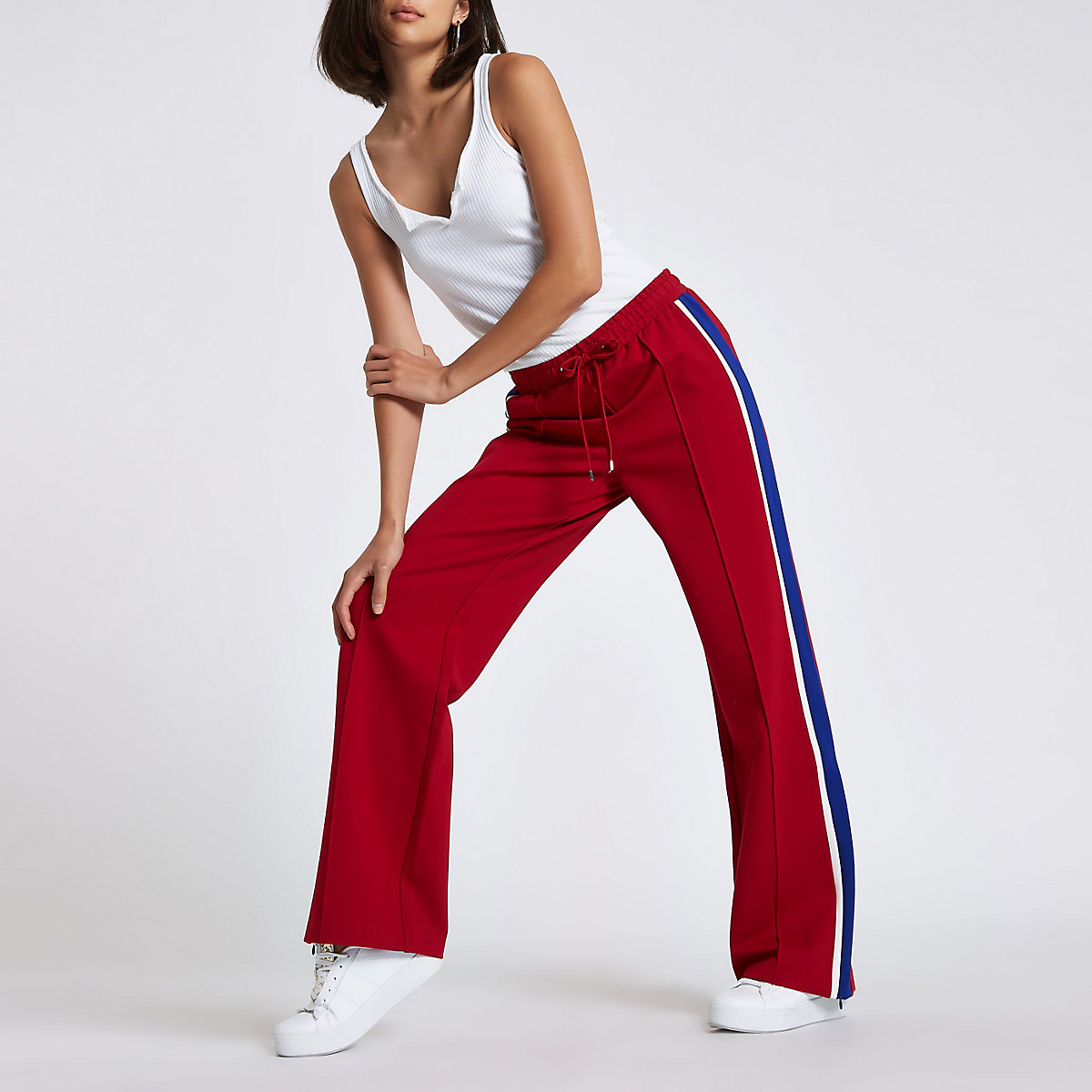 Red jersey tape side joggers