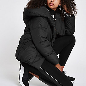 Black asymmetric zip hooded puffer jacket