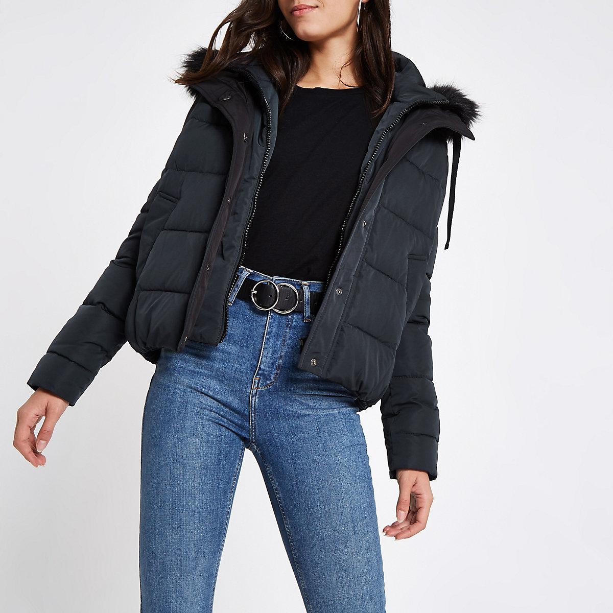 Navy padded faux fur hood puffer jacket