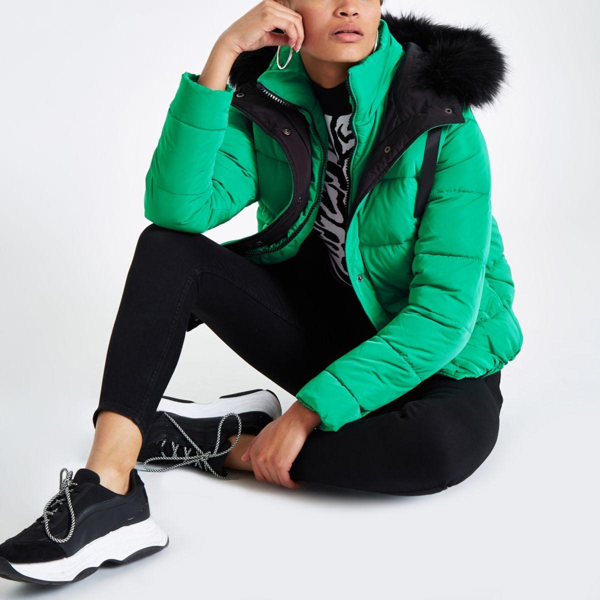 Green padded faux fur hood puffer jacket
