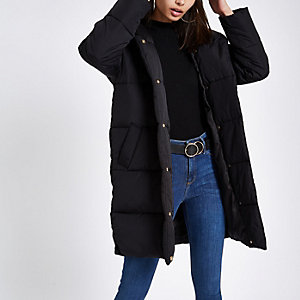 Black asymmetric zip longline puffer jacket