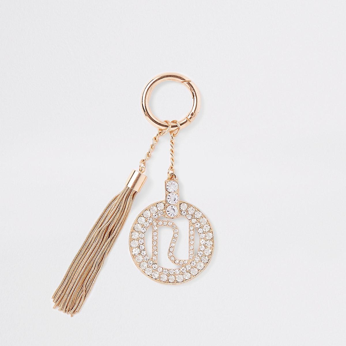 Gold tone RI branded diamante tassel keyring