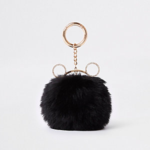 Black cat ear faux fur pom pom keyring