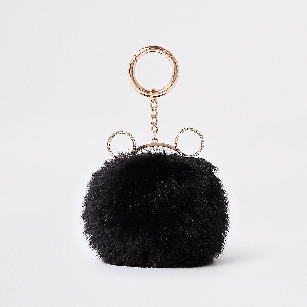 Zwarte sleutelring met kattenoor en pompon van imitatiebont
