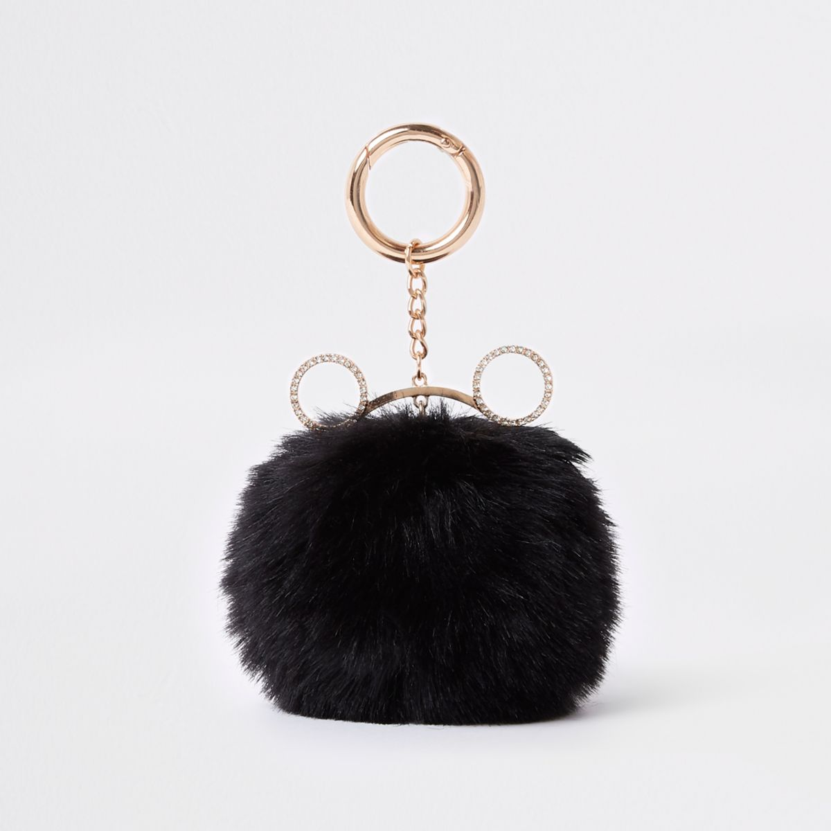 Black cat ear faux fur pom pom keyring