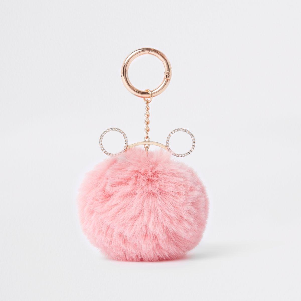 Pink faux fur pom pom keyring