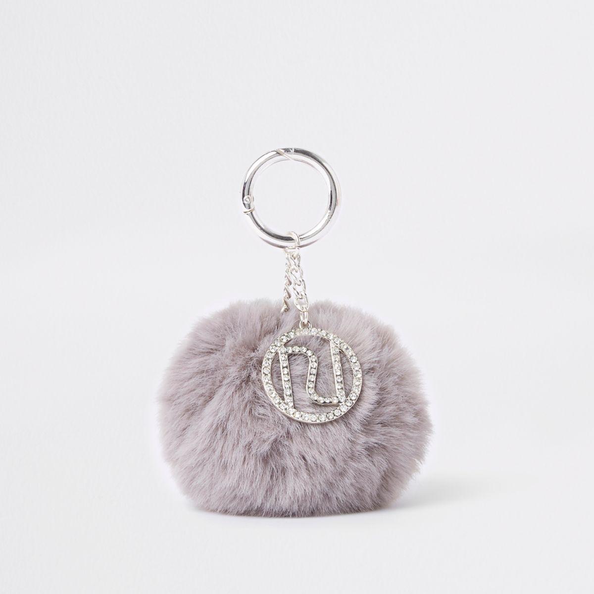 Grey faux fur pom pom keyring