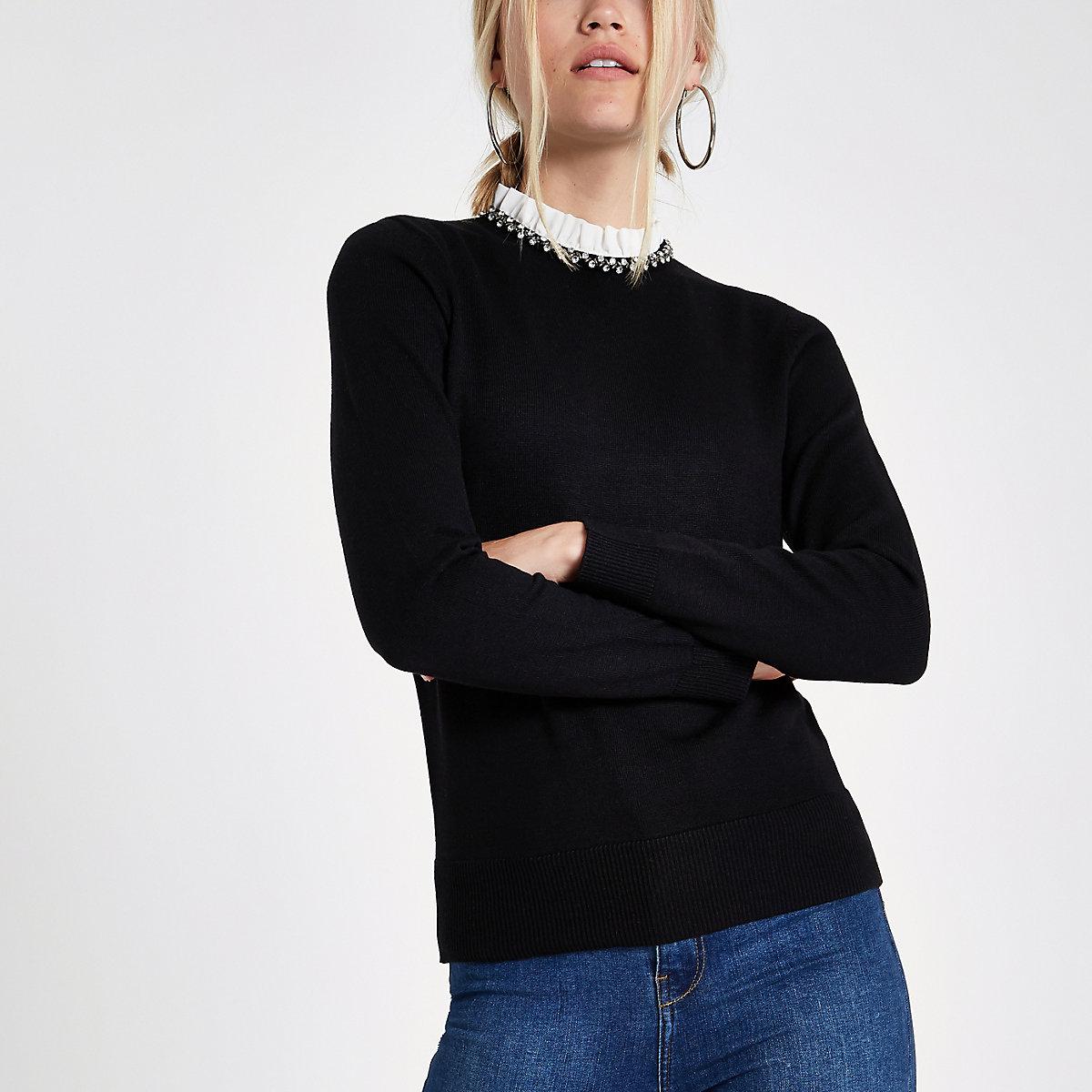 Zwarte verfraaide pullover met col