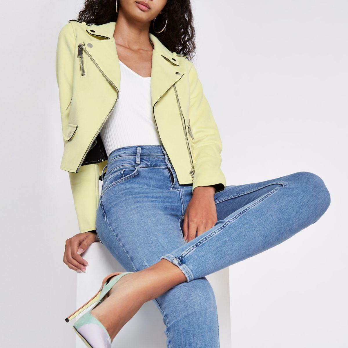 Light yellow faux suede biker jacket