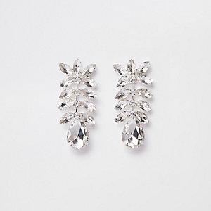 Silver tone rhinestone jewel drop earrings