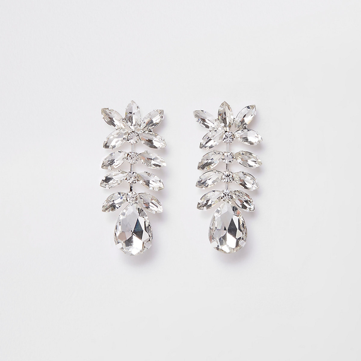 Silver tone rhinestone jewel drop earrings