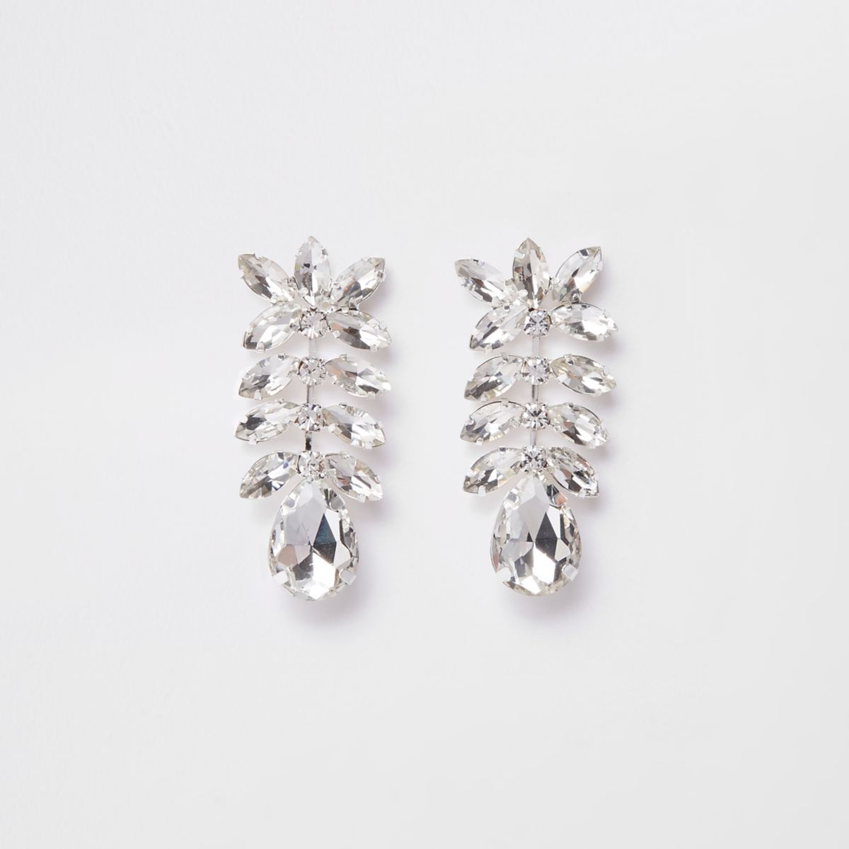 Silver tone diamante jewel drop earrings