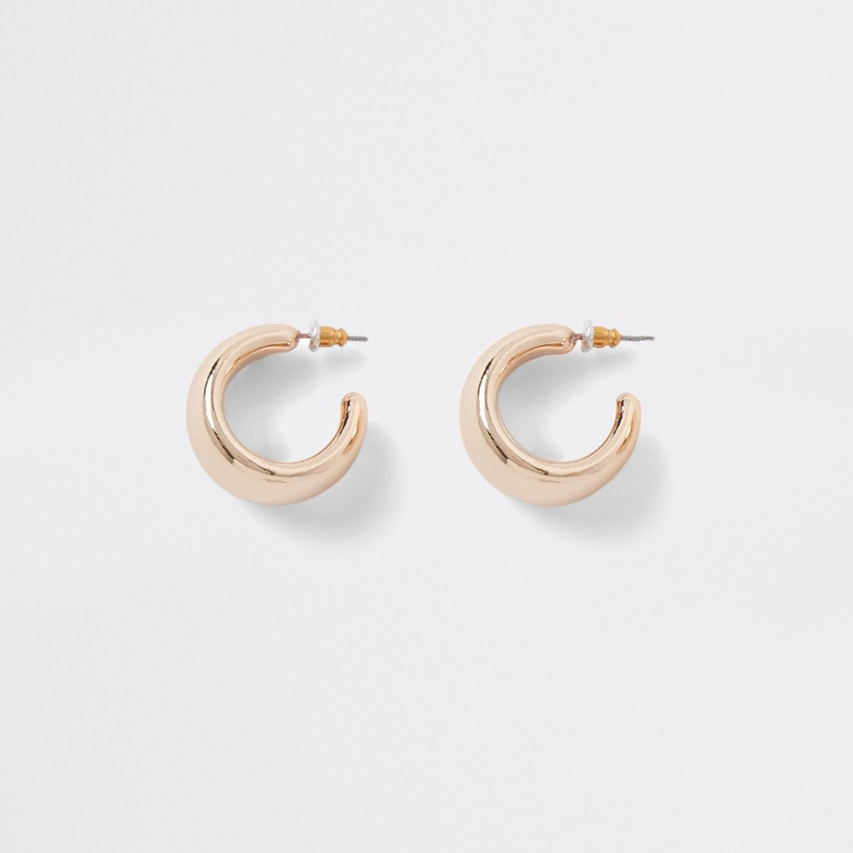 Gold tone chunky hoop stud earrings