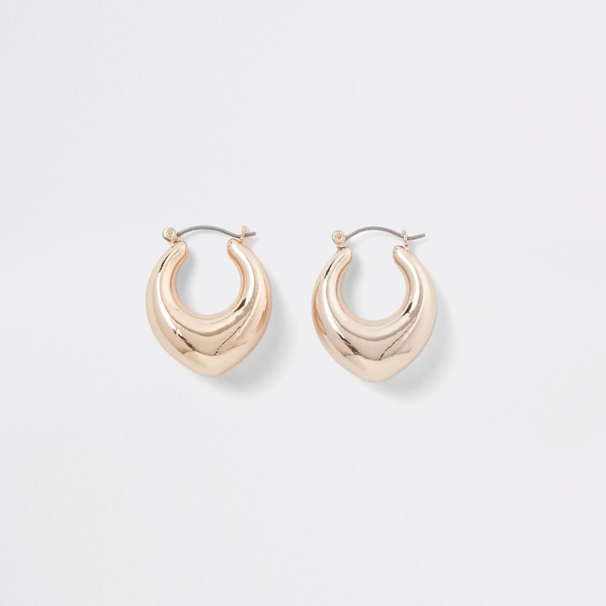 Gold tone chunky pointed hoop earrings