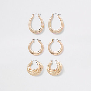 Gold tone metal hoop earring multipack