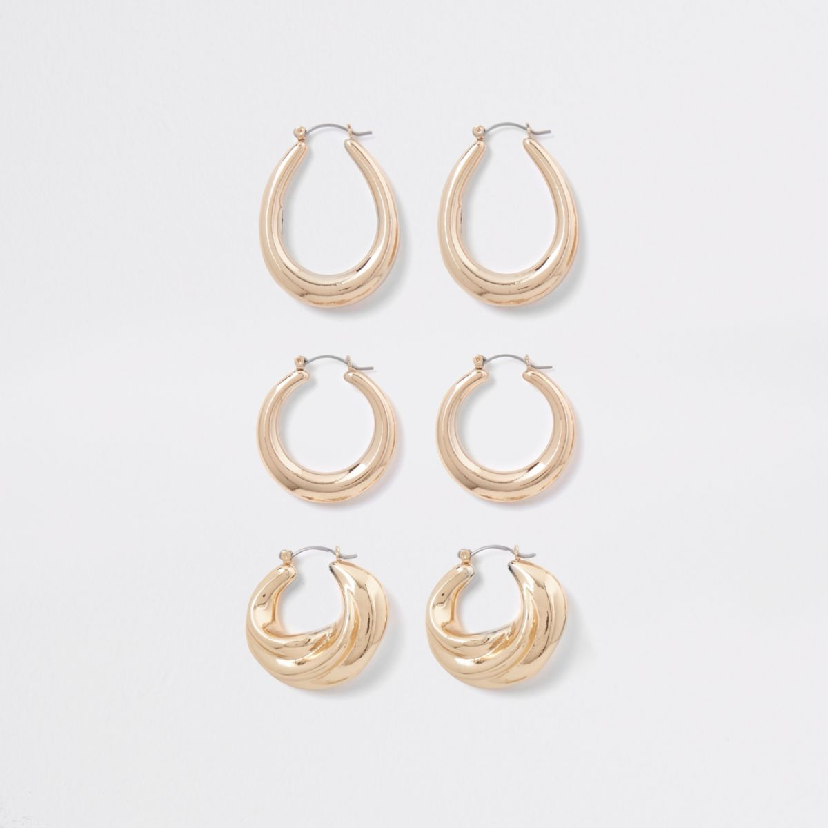 Gold tone metal hoop earring multipack