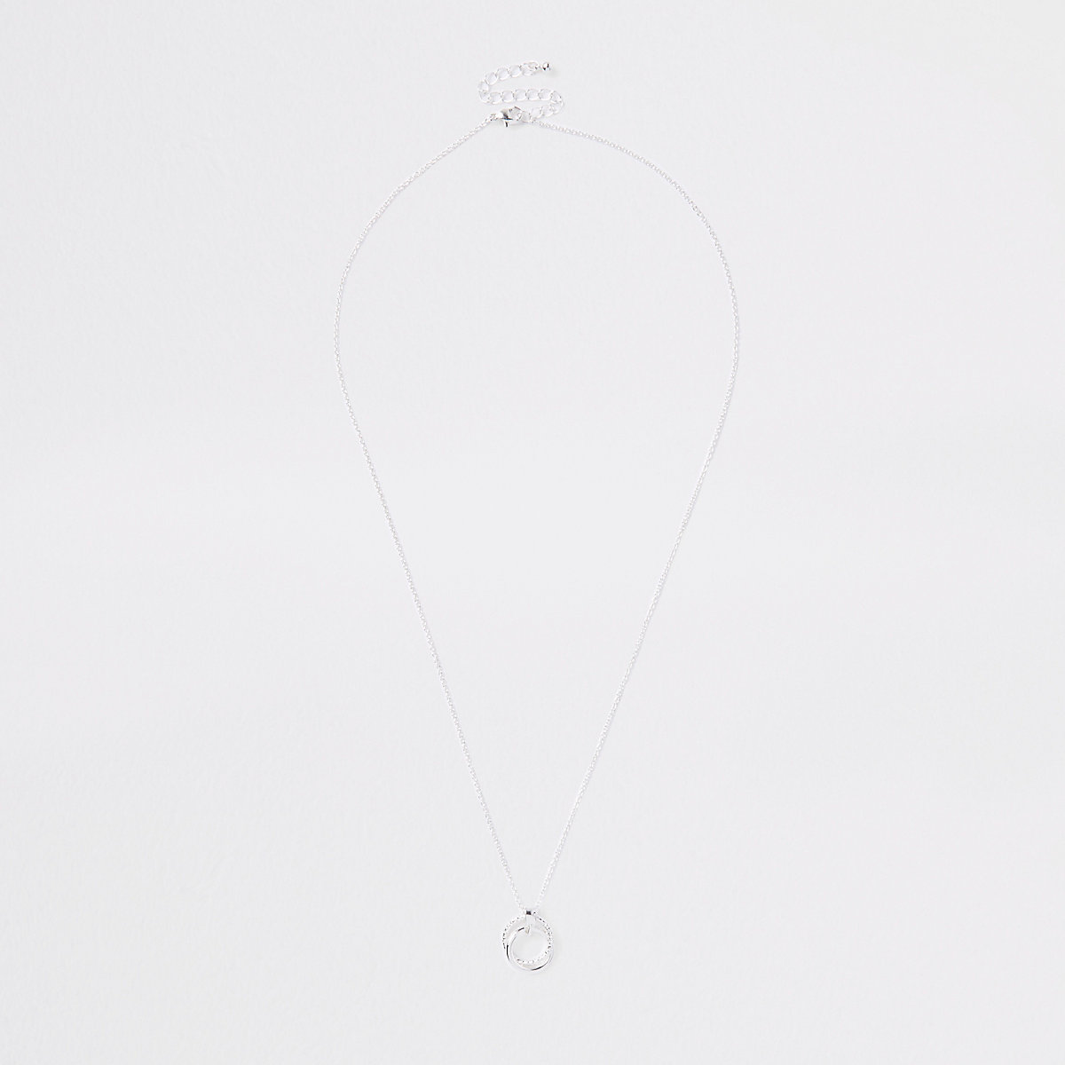 Silver tone interlink circle chain necklace