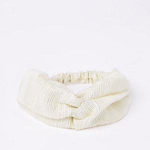 Crème metallic gedraaide brede haarband met stiksel