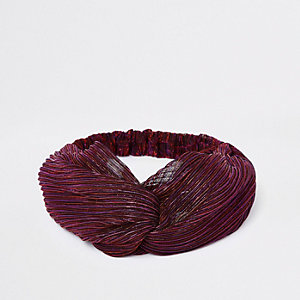 Roze metallic gedraaide haarband met stiksel