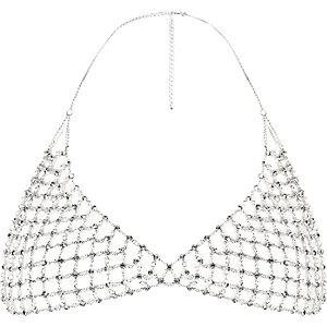Silver tone rhinestone embellished bralette