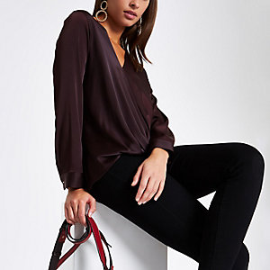 Burgundy wrap tuck front blouse