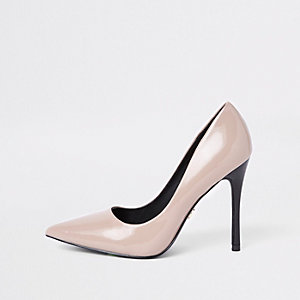 Dark beige patent pumps