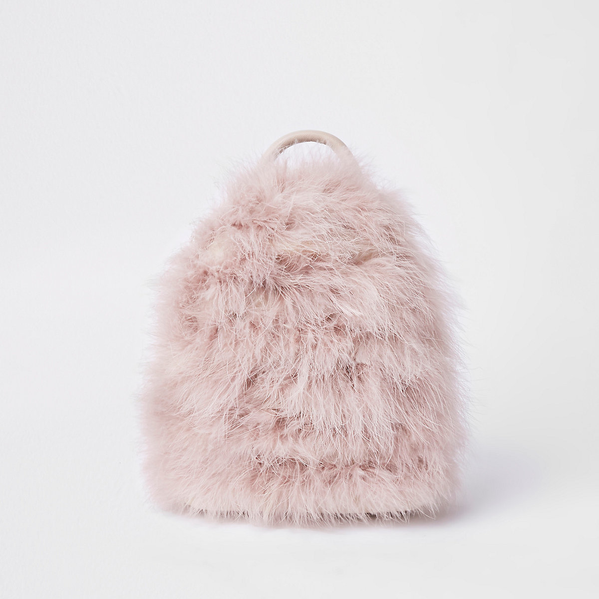 Light pink marabou faux fur backpack