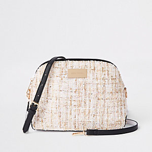 Cream boucle cross body bag