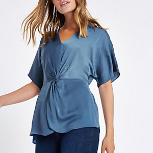 Petite blue twist front top