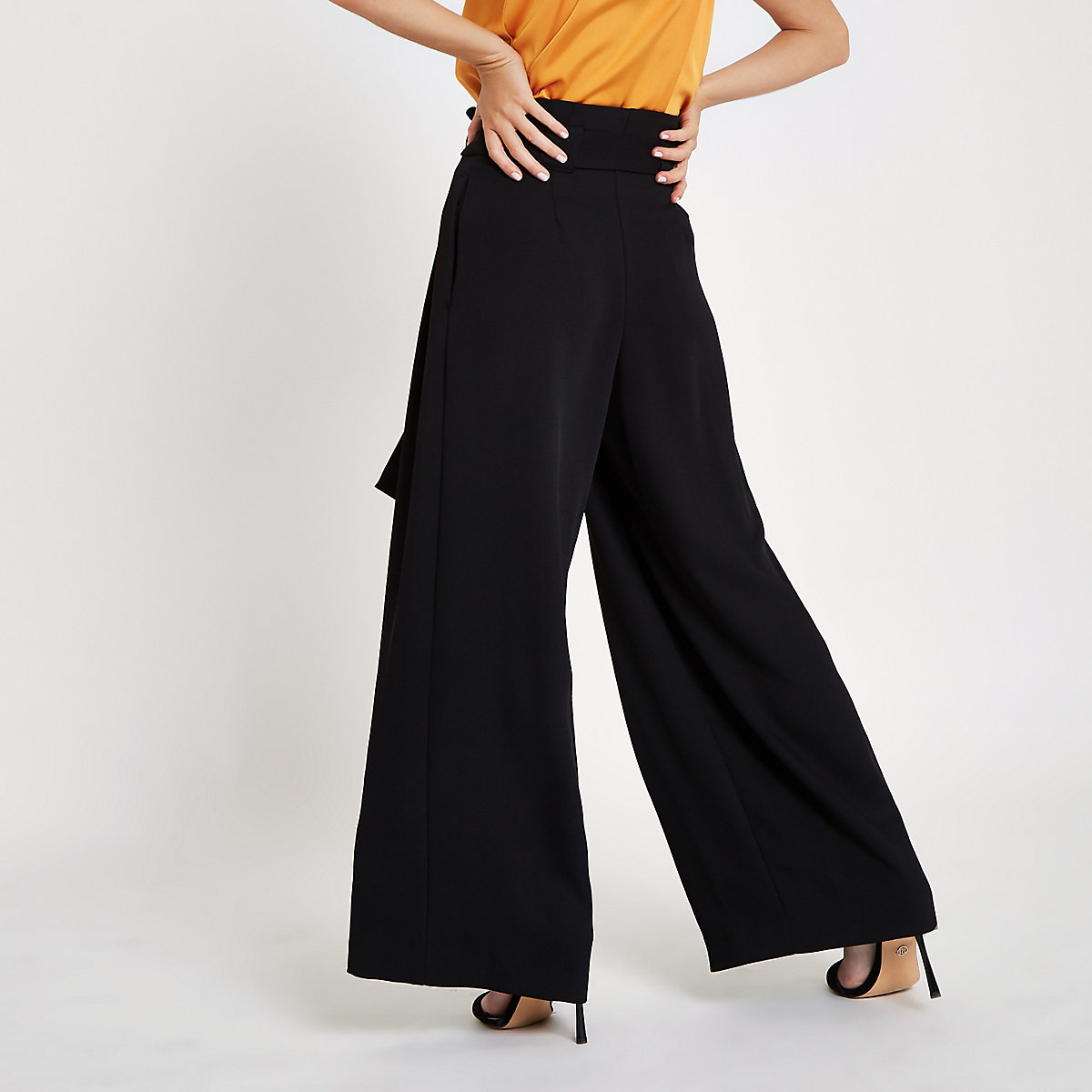 385a832add29e3 Petite black paperbag waist wide leg trousers - Wide Leg Trousers ...