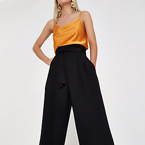 Petite black paperbag waist wide leg trousers