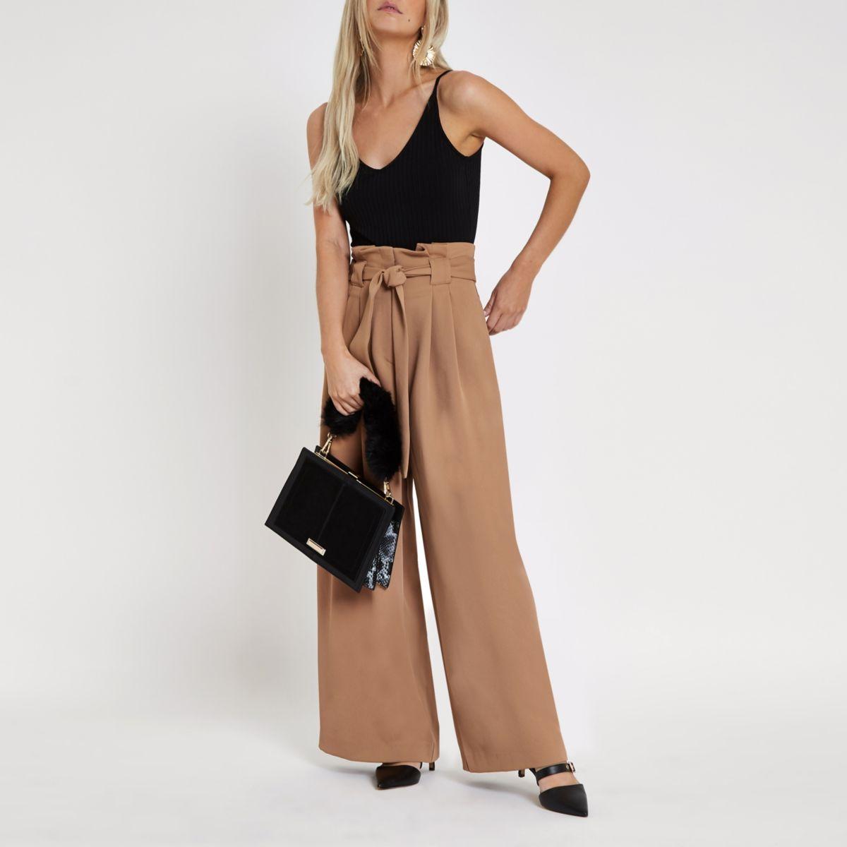 Petite beige paperbag waist wide leg trousers