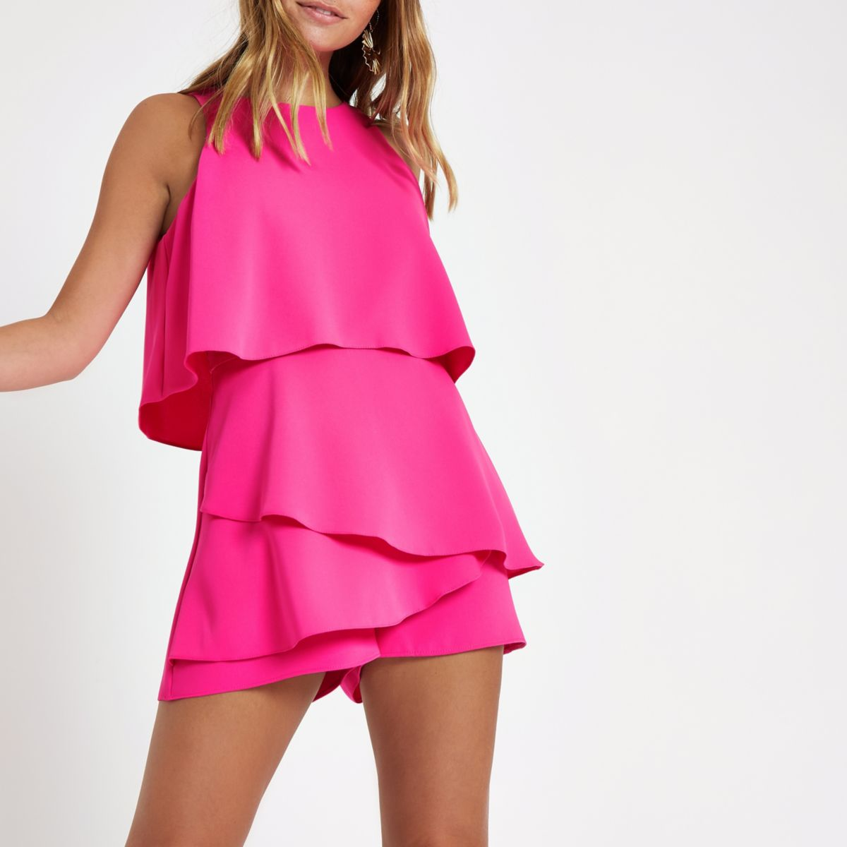 Petite bright pink tiered sleeveless romper