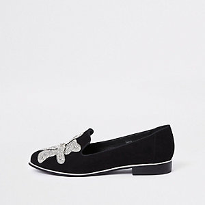 ​Black floral diamante embellished loafers​