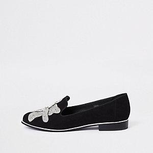 Zwarte gebloemde loafers met stras