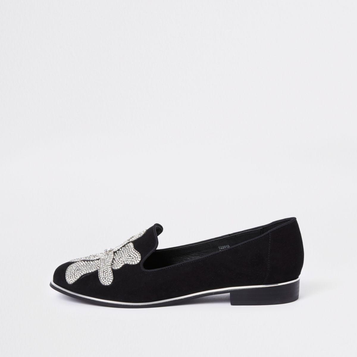 Black floral rhinestone embellished loafers
