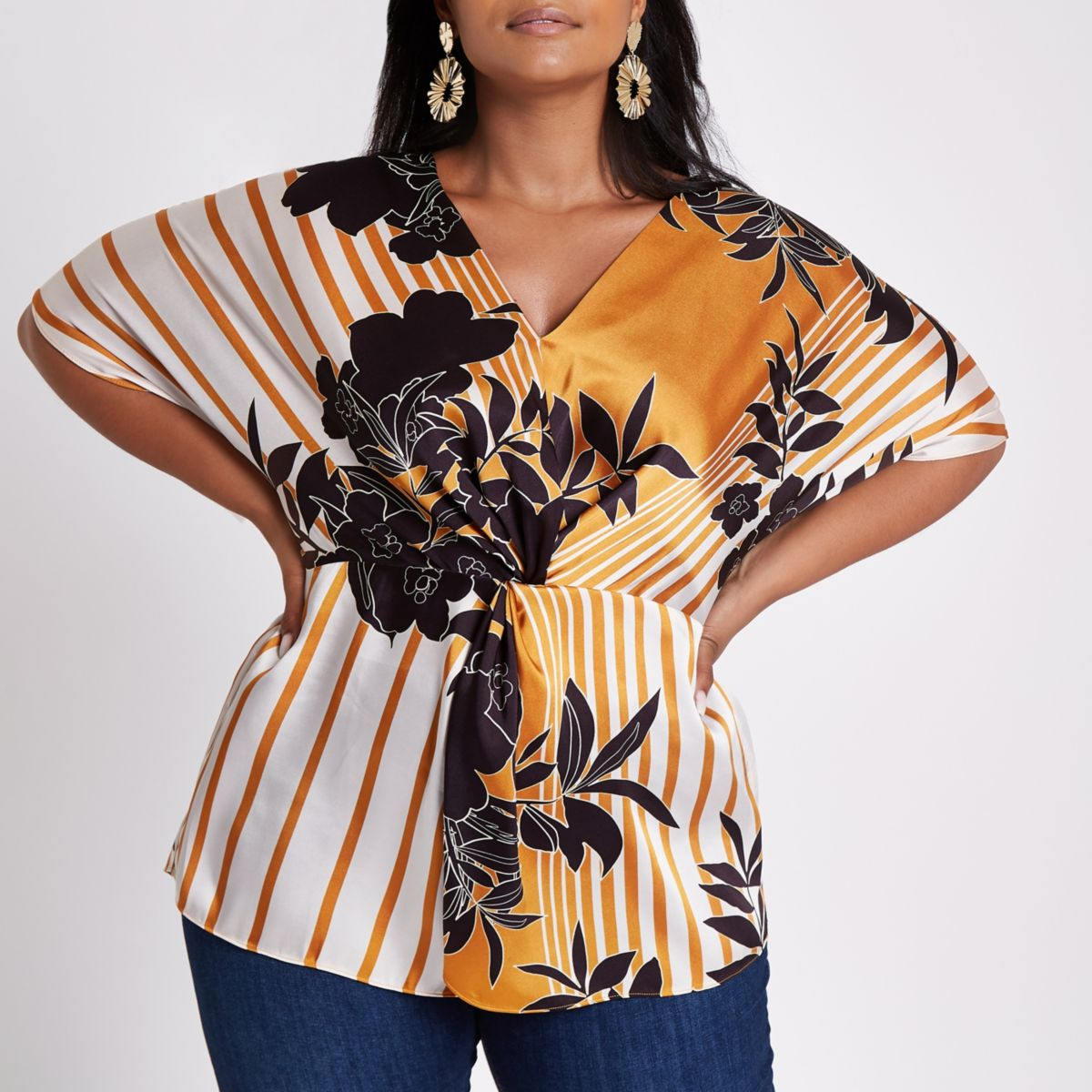 Plus Orange Floral Stripe Twist Front Top by River Island