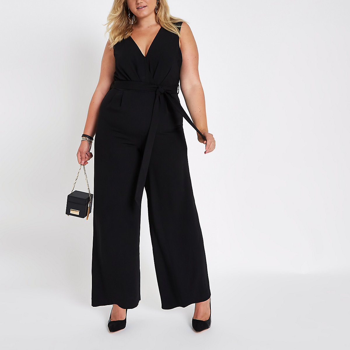 Plus black belted culotte jumpsuit