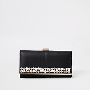Black pearl embellished clip top purse