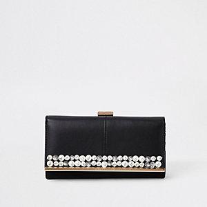 Porte-monnaie noir orné de perles à fermoir clip
