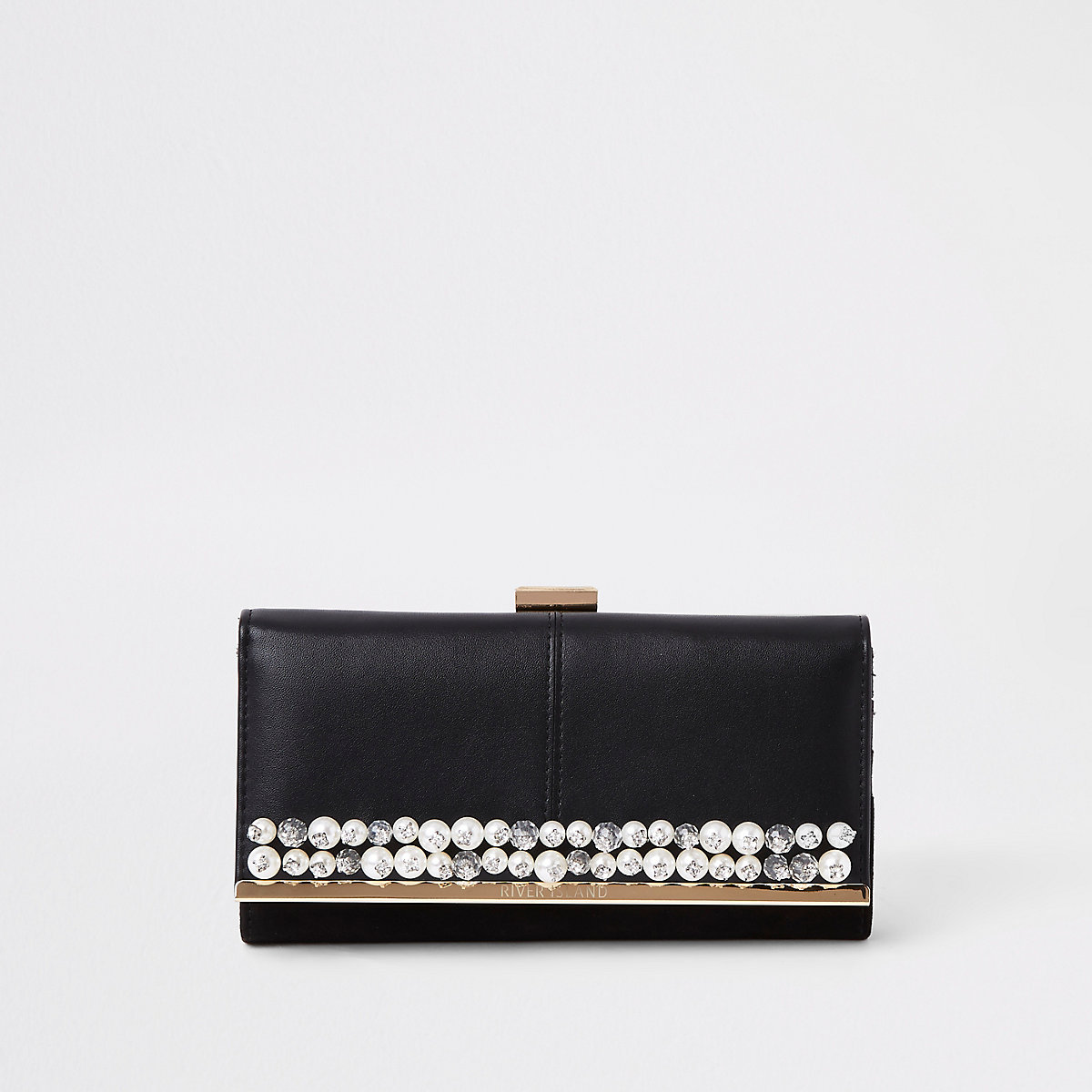 Black pearl embellished clip top purse