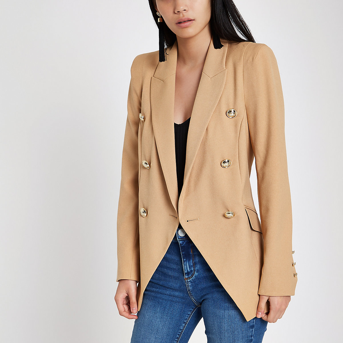 Light brown double breasted tux jacket