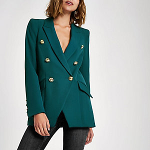 Green double breasted tux jacket