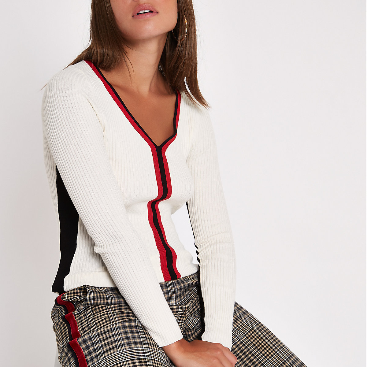 Cream knit rib colour block top