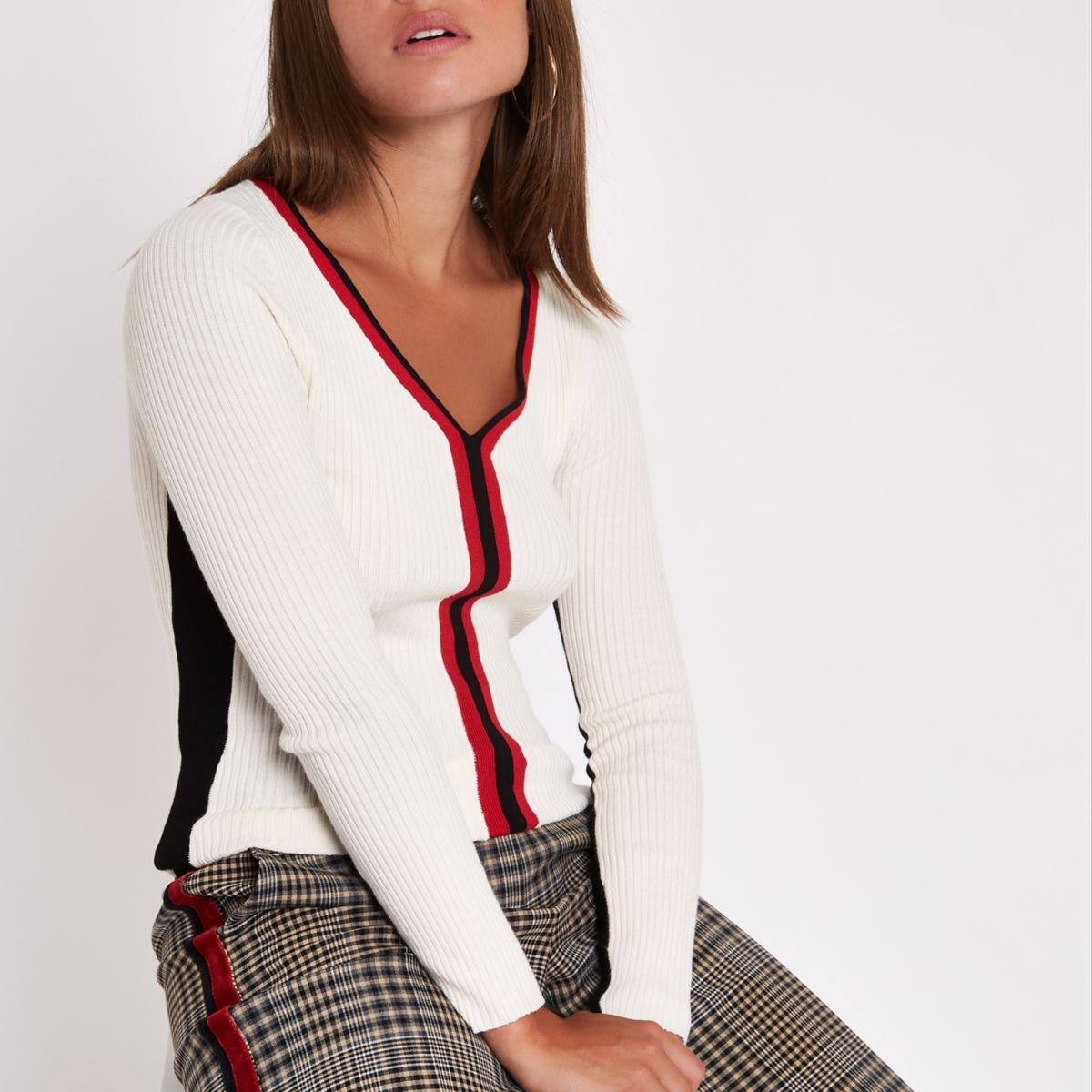Cream knit rib color block top